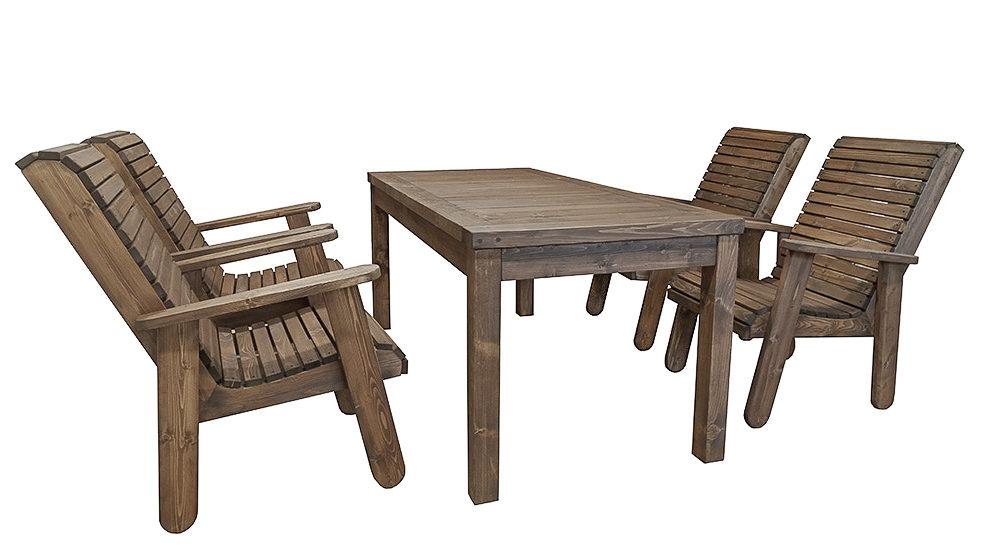 Aiamööbli komplekt, 4 tooli ja laud. Viimistletud puiduõliga