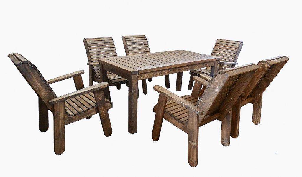 Aiamööbli komplekt, 6 tooli ja laud. Viimistletud puiduõliga